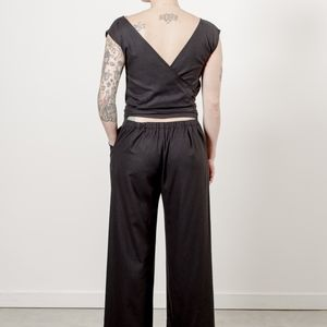 New Ozma Matador black raw silk jumpsuit size M